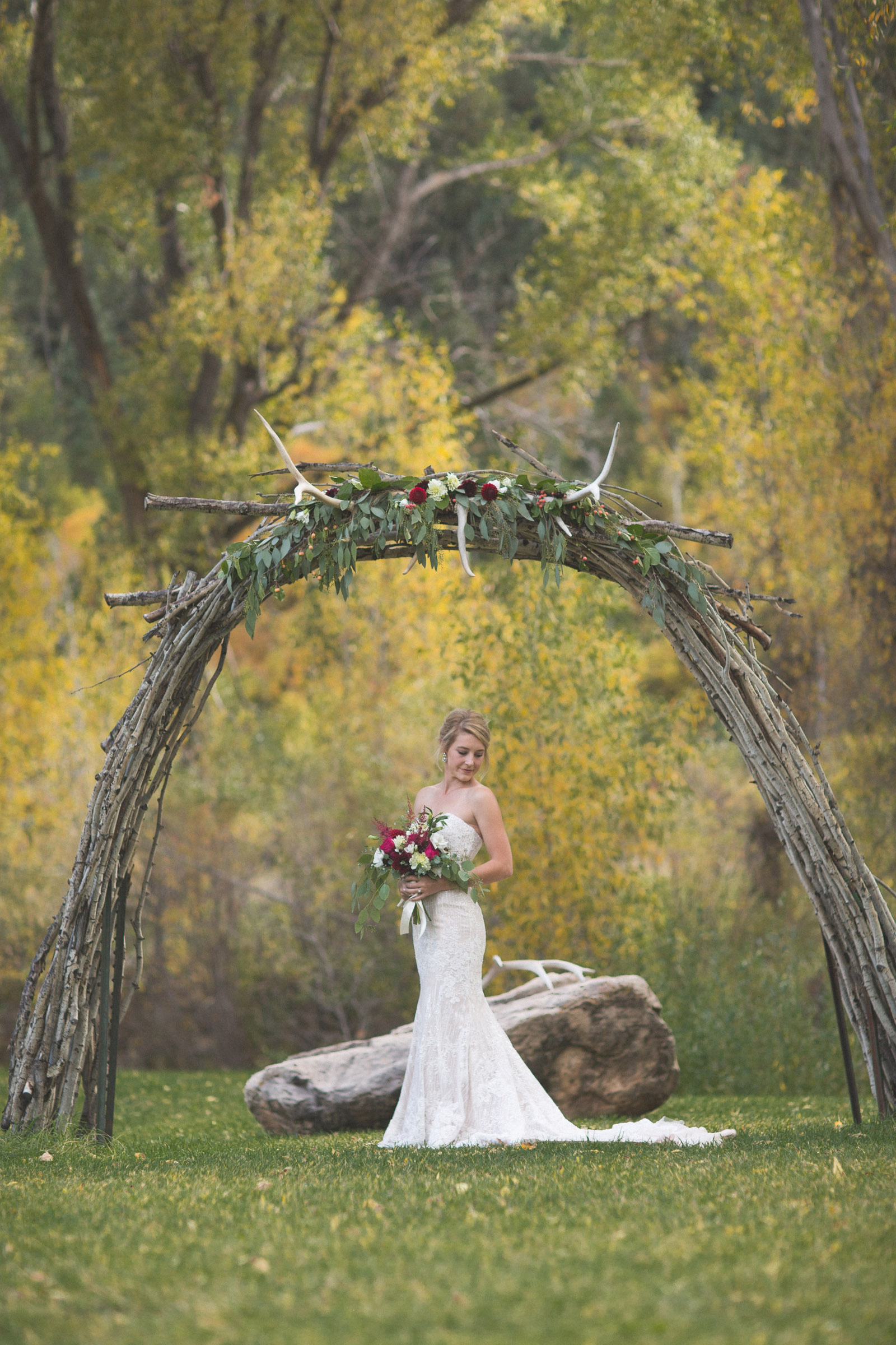 beautiful portrait of bride in dress in nature and photojournalistic photography in durango colorado elopement wedding