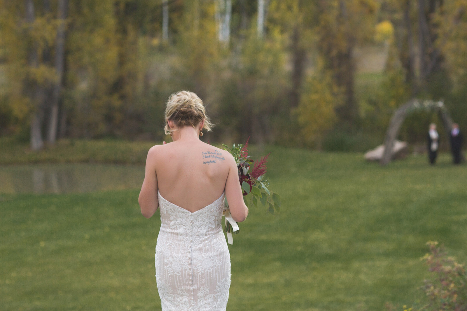 bride awaiting groom during private elopement wedding ceremony in durango colorado
