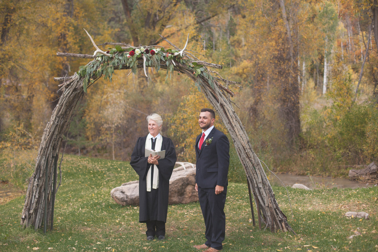 groom awaiting bride during private elopement wedding ceremony in durango colorado