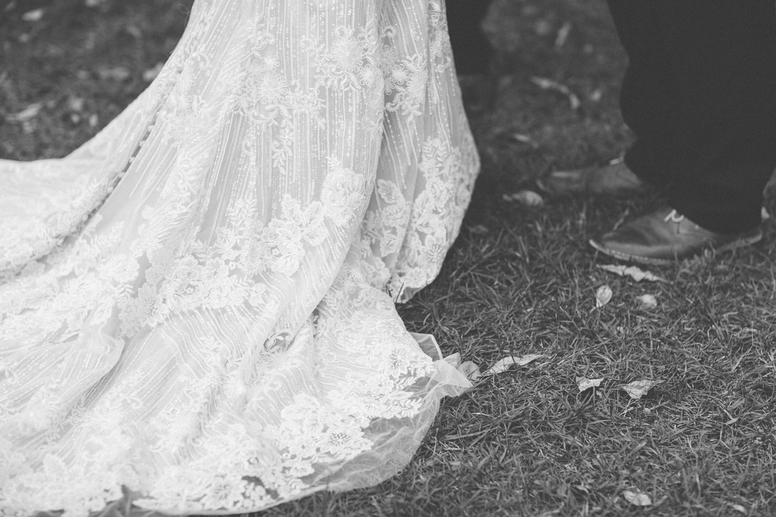 wedding dress on the forest floor