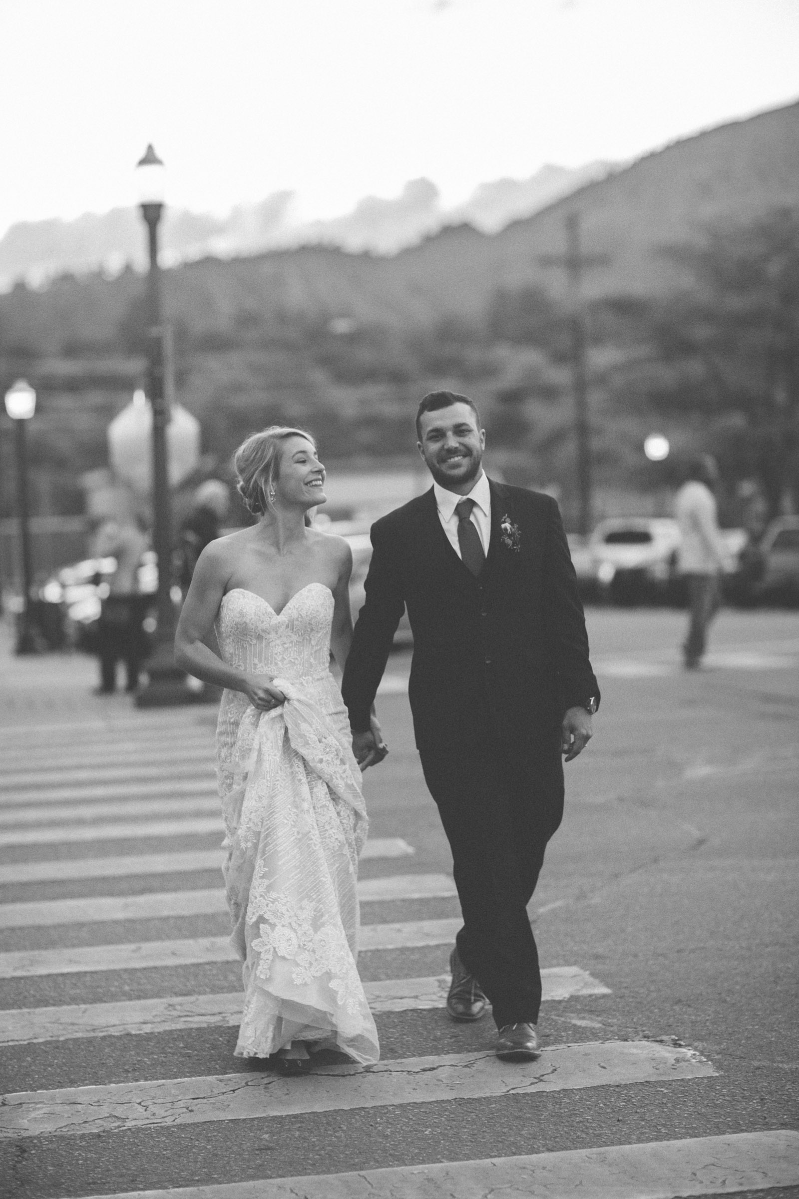 beautiful bride and groom photojournalist portraits at elopement wedding in durango colorado downtown